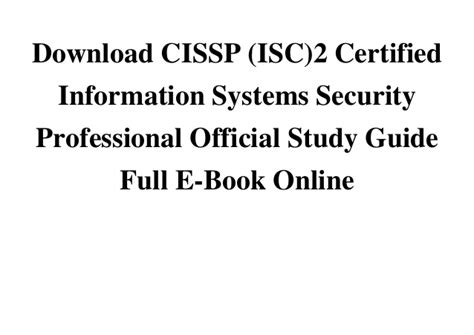 Download Cissp Isc2 Certified Information Systems Security