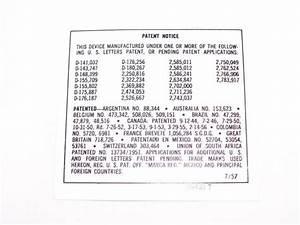 Vendo Patent Notice Decal Dated 7  57