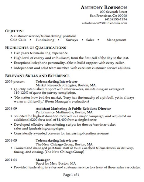resume sle customer service telemarketing