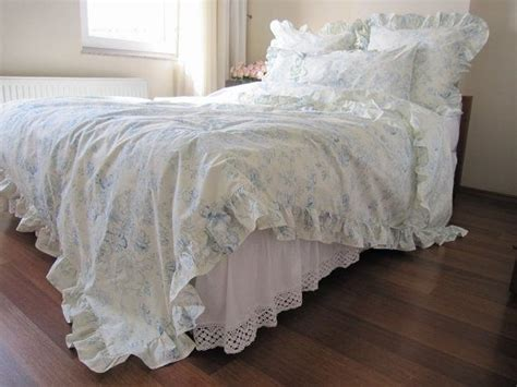 sale cream pastel blue floral ruffled bedding queen size