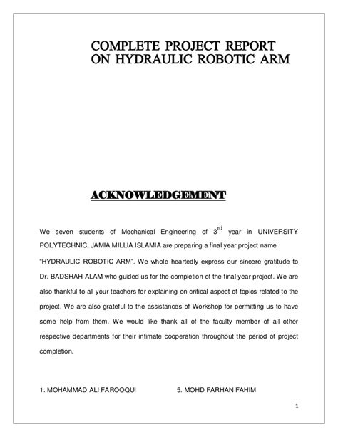 project report  hydraulic robotic arm