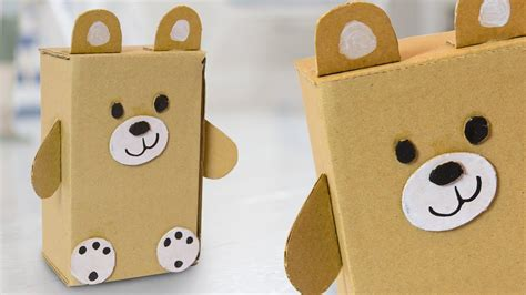 diy teddy bear  cardboard box easy cute craft