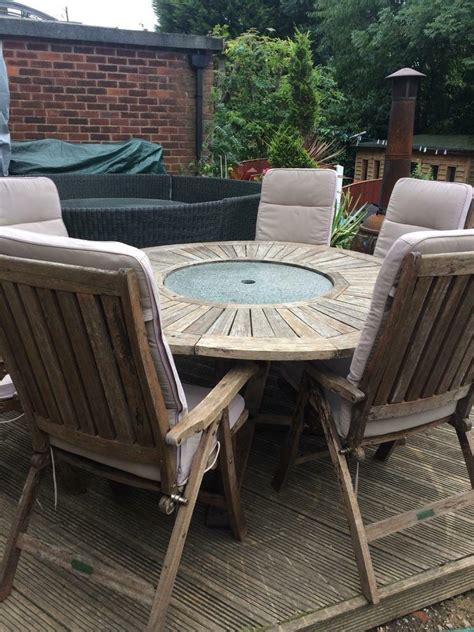 kensington teak garden table granite middle