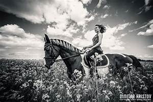 Girls Riding Horse In Beautiful Meadow