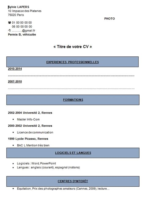 Modèle Cv Mise En Page by Cv Exemples Et Mod 232 Le Type De Mise En Page Terrafemina