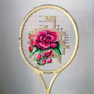 Flowers embroidered on the strings of vintage rackets and for Racket flowers danielle clough