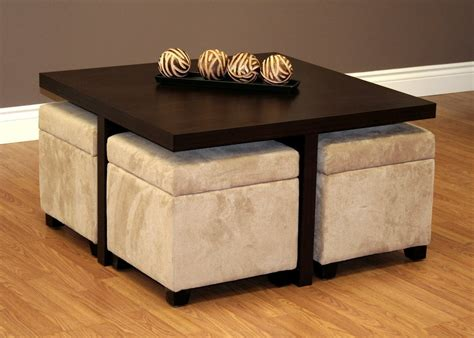 coffee table with stools underneath comfy ottoman