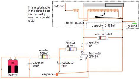 amplifier  crystal radio earphone