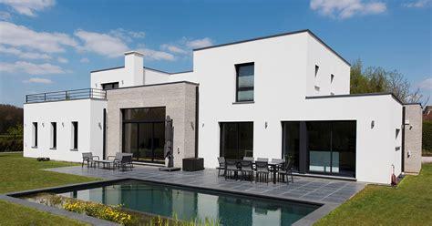 cuisine architecte maison cubique enduit et briques grises