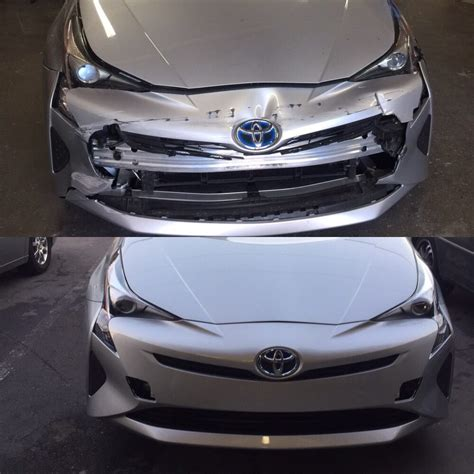 wrecked car before and after 2017 toyota prius front end damage before and after yelp