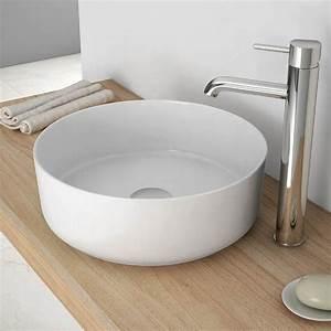 Vasque a poser ronde 35 cm ceramique fine extra vasque for Salle de bain design avec vasque extra plate poser