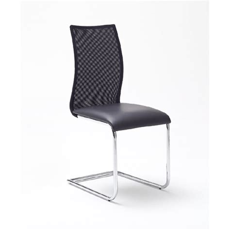 dining chair in black faux leather with mesh back 25051