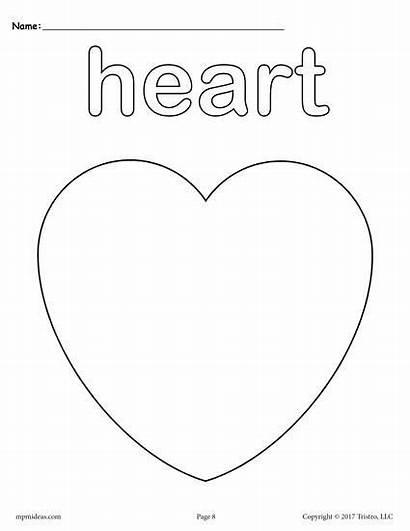 Coloring Shape Heart Shapes Pages Preschool