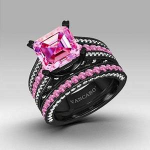 loves it pink and white cubic zirconia asscher cut With vancaro black wedding ring set