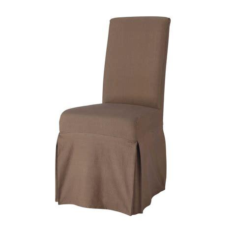 housse de chaise taupe housse longue de chaise en coton taupe margaux maisons