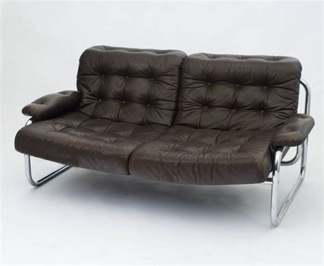 Vintage Sofa For Ikea In Brown Leather And Chrome 1970