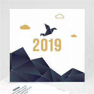 Modele Carte De Voeux : carte de voeux professionnelle origami colombe bleue ~ Melissatoandfro.com Idées de Décoration