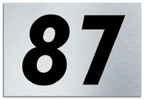 Number 87 Contemporary House Plaque Brusher Aluminium