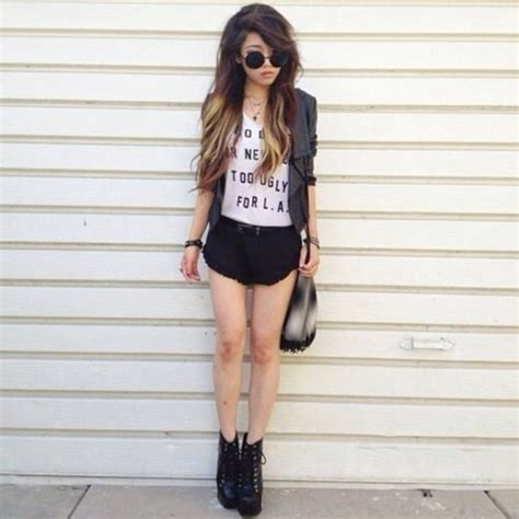 Shorts short black girl girly outfit girly outfits tumblr - Wheretoget
