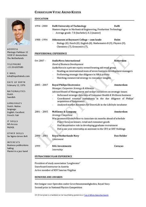 Professional Cv Template Word by Free Curriculum Vitae Template Word Cv Template