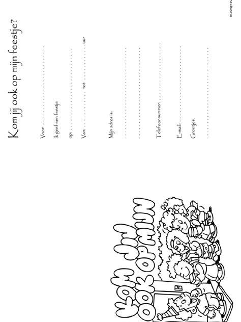 Kleurplaat Achterkant Briefkaart by Achterkant Uitnodiging Knutselpagina Nl Knutselen