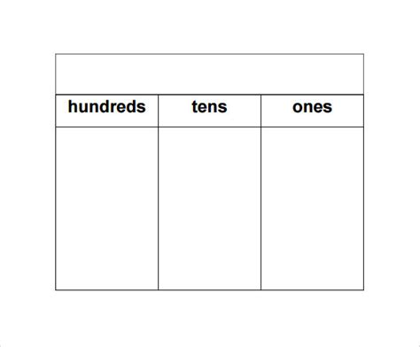 place value chart template 9 sle place value chart templates to sle templates