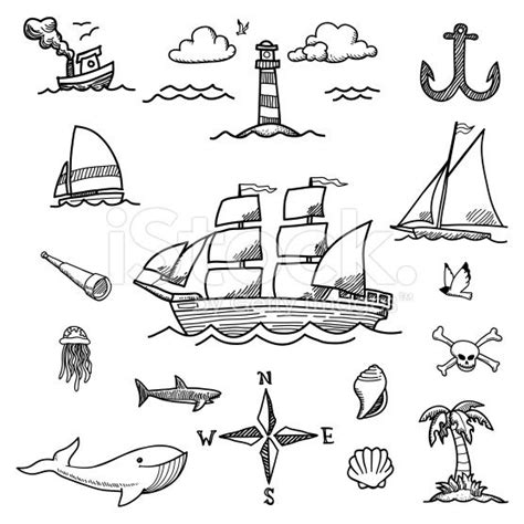 A set of hand-drawn doodles of sailboats and ocean related ...