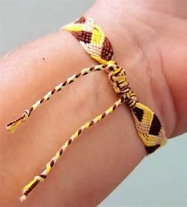 bracelet brésilien motif tresse couleur jaune chocolat et