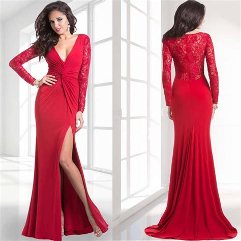 Janique 2015 Sexy Slit Red Evening Gowns Plunging V Neck ...
