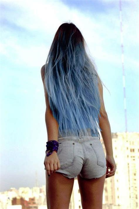 Items similar to Sky Blue Ombre Hair Extensions, Blue Dip