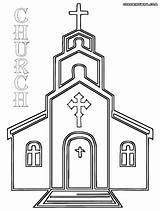 Church Coloring Pages Drawing Simple Building Printable Template Methodist Cross Sketch Print Templates Christian Paintingvalley Popular sketch template