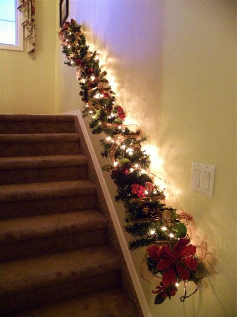 stairwell christmas garland lighting decorate the stairs for 30 beautiful ideas