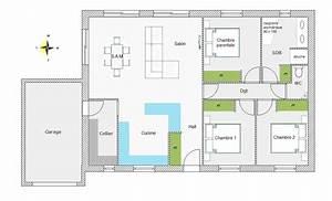 plan de maison de plain pied avec 3 chambres With plan maison plain pied 4 chambres avec suite parentale
