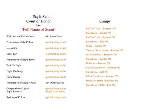 eagle scout ceremony program template program template eagles and templates on