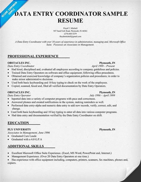 Resume Data Entry by Data Entry Coordinator Resume Sle Resumecompanion