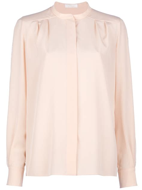 mandarin collar blouse chloé mandarin collar blouse in pink lyst