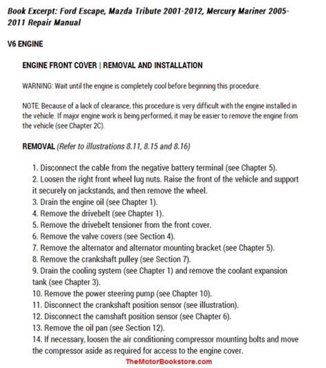 how to download repair manuals 2005 mercury mariner parking system ford escape mazda tribute mercury mariner repair manual