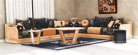 canapé salon marocain salon marocain moderne enbois