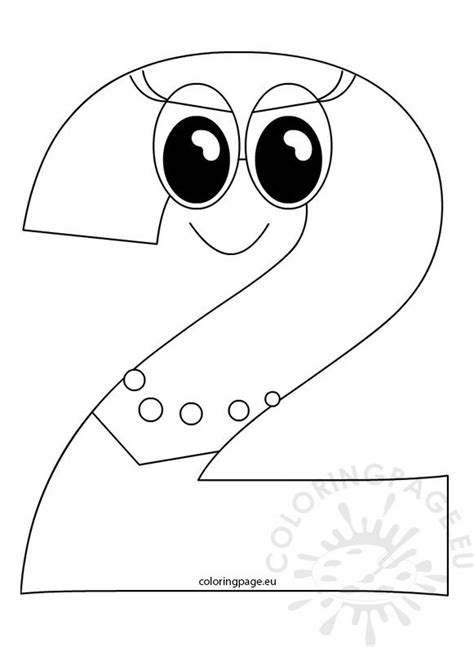 outlined number  cartoon coloring page