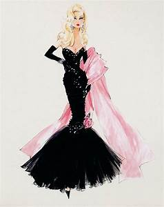 drawing art fashion dress Model black pink Sketch woman ...