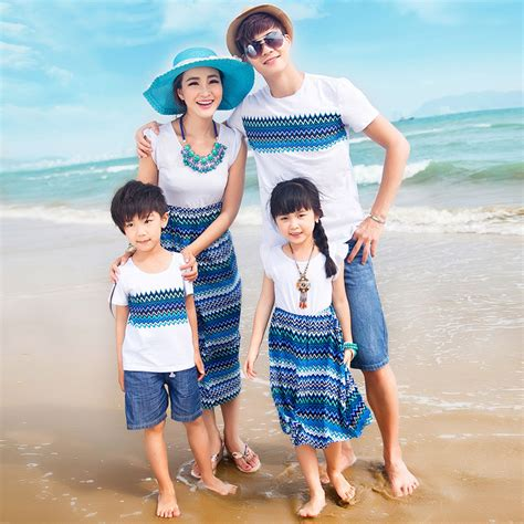Authentic Mother Daughter Dresses Wave Pattern Family Matching Clothes Summer Cotton T shirt ...
