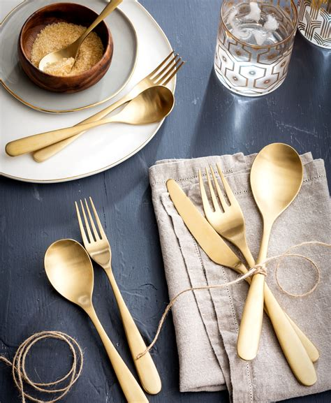 flatware matte gold  pc place setting tableware
