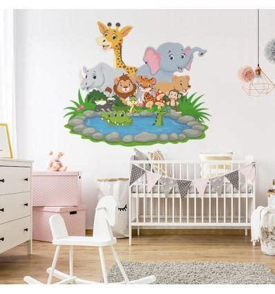 vinilo infantil animales pequeños selva composicion