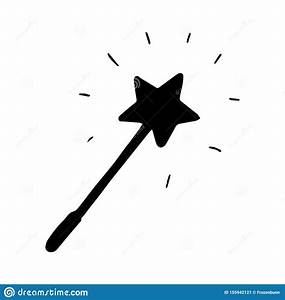 Hand Drawn Magic Wand Doodle  Silhouette Icon  Decoration