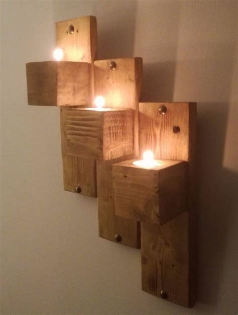 cm reclaimed pallet wood floating shelf wall sconce