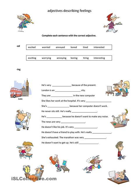 describing feelings worksheets adjectives describing feelings sentimientos y emociones
