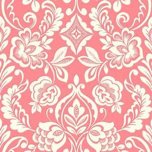 Floral Diamond Damask Red Wallpaper Tile estampados