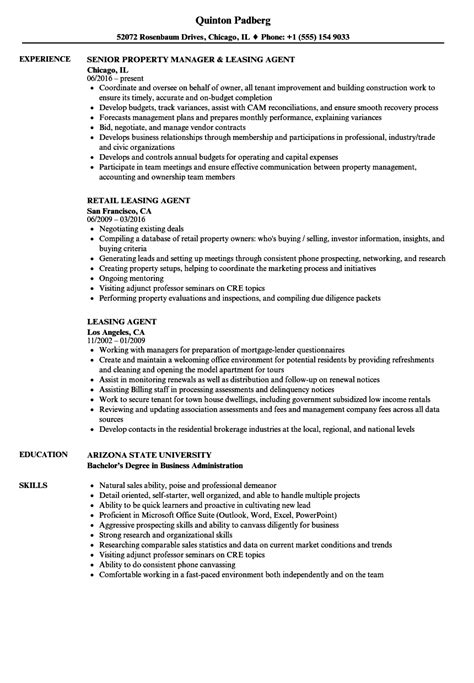 Leasing Resume Templates by Leasing Resume Sles Velvet