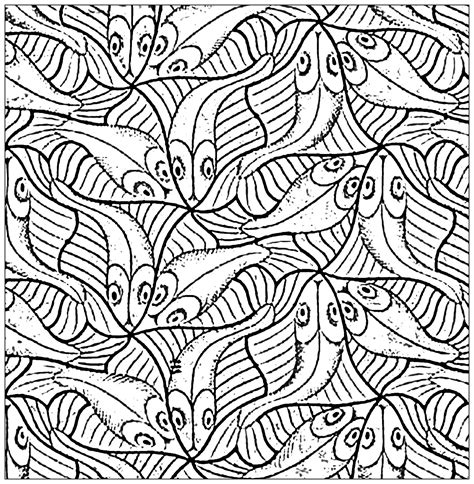 Kleurplaat Esher by Squared Drawing With Fishes By M C Escher Animals
