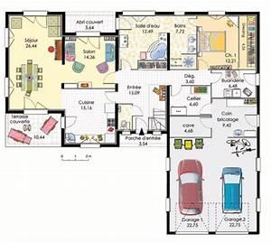 plan de maison plain pied moderne avec garage With plan de maison plain pied 100m2